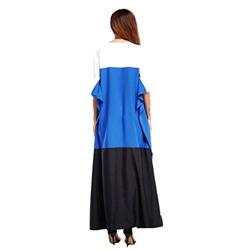 Moda Camicia A Forma Di Pipistrello Maniche Corte Sciolto Cucito Maglietta Abito Blue