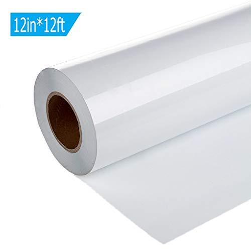 WäRmeüBertragung Vinyl, Chshe TM, Vinyl WäRmeüBertragung Eisen Auf Diy Garment Film Silhouette Papier Kunst 12In X 12Ft(Weiß) -