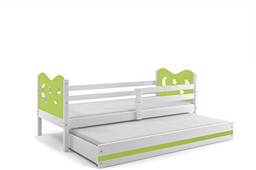 Letto doppio per bambini MAX 190x80 telaio bianco/verde stelle