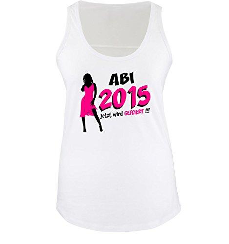 Comedy-Shirts - T-shirt - Senza maniche  - Donna Weiss / Schwarz-Pink