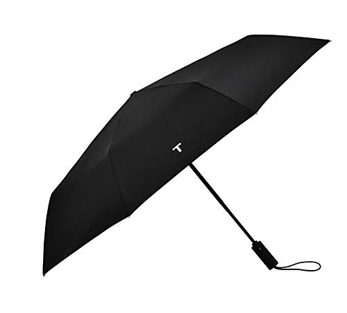 Y-S Schwarzer Leichter Kompakter Vollautomatischer Reise-Regenschirm Faltender Doppelter Dreifacher Regenschirm Männer Frau Winddichter Sonnenschirm Automatisch EIN- / Ausschalten, Regenschirm, a