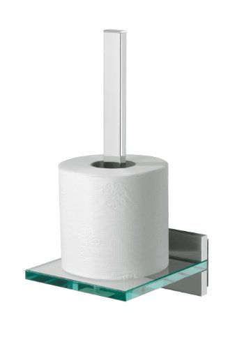 Tiger 262930346 Safira Toilettenpapierhalter für Ersatzrollen, chrom + Safira Toilettenpapierhalter mit praktischer Glas-Ablage, chrom