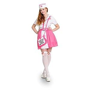 Folat 63322-Sexy Enfermera Camiseta, 4Piezas, tamaño L-XL, Color Rosa