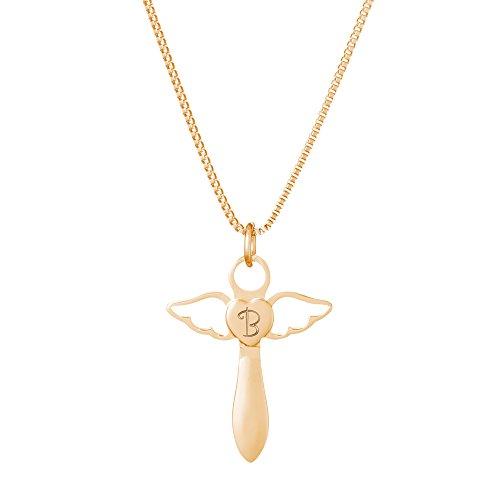 Gravado Halskette aus Gold-Edelstahl mit Herzengel-Anhänger– Kreuzform – Personalisiert mit Initial – Inklusive Geschenkbox – Mädchen Schmuck