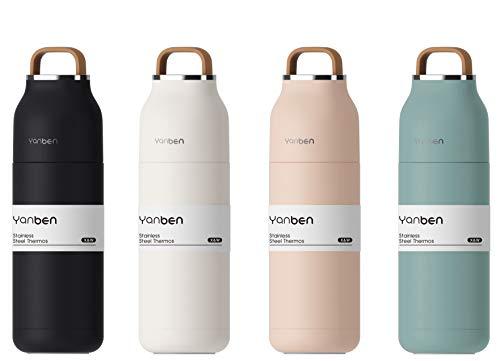 M.S.N Doppelwandige Edelstahl Thermosflasche Reisebecher für Camping Wandern Ausflüge 350 ml - auslaufsicher, BPA frei, stainless steel - isolierte Flasche für heiße und kalte Getränke.(Weiß)