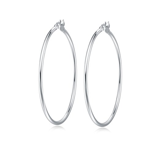 Pendientes De Aro para Mujer Plata de ley 925 círculo Aretes con Tipo Criolla - Diámetro: 50 mm