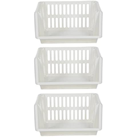 Large 3 Tier Stacking Baskets Storage Veg Rack Plastic Stackers 35cm - Cream by Whitefurze