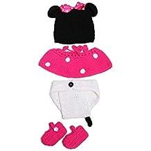 Ogquaton 1 Unidades Bebé Mickey Suit Adorable Crochet Ropa para bebés Set Creative Photo Props Ropa