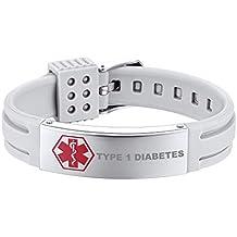 2ef1a5b2793a Supcare Personalizable Brazalete Medical de Identificación con Tag Acero  Inoxidable y Correa Silicona Grabado Gratis Joyería