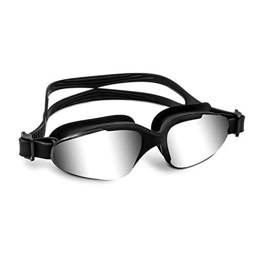 VETOKY Schwimmbrille, Verspiegelte Schwimmbrillen UV Schutz kein Auslaufen für Erwachsene Herren Damen und Kinder, Schwarz mit Silber Verspiegelt Linsen