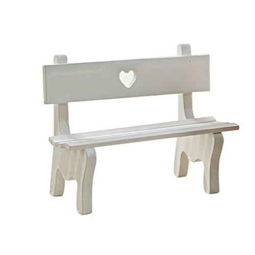 MagiDeal Miniatur Gartenstuhl Liegestuhl Holzstuhl Zubehör für Mini Puppenhaus - Weiß