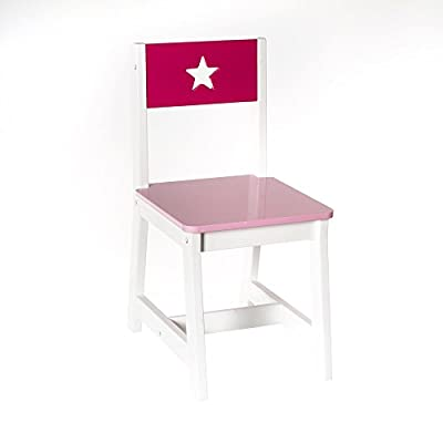 Wooden children's chair - Star pattern - Colour PINK and WHITE - cheap UK light shop.