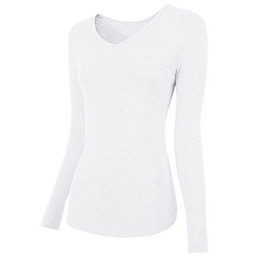 AUSERO Damen Langarmshirt mit V-Ausschnitt, Langarm T-Shirt Casual Stretch Tunika Top Shirts für Herbst & Frühling -Weiss, S (Polo-top Damen)