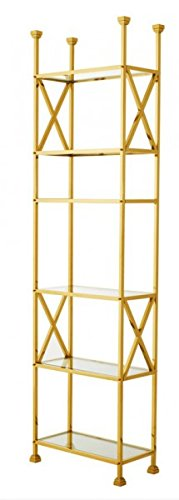 Casa-Padrino Luxury Shelving Cabinet Stainless Steel Gold with Glass Shelves W 65 x H 230 cm Bookcase Shelving Cabinet - Art Deco Furniture