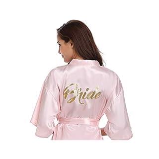 Vlazom Satin Bridal Bridesmaid Robes Silk Bride Party Bathrobes Dressing Gwon, Wedding Day Robes, Glitter Bridesmaid Kimono Nightwear Pink for Bridesmaid S(UK 6)