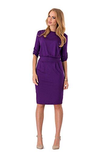 Robe Droite Futuro Fashion Pour Femme Avec Ceinture Col Bateau Manches 3/4 - 8986 Violet