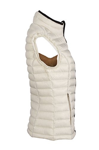 James & Nicholson - Daunenweste Ladies Quilted Down Vest, Giacca Donna Rosso (Off-White/Black)