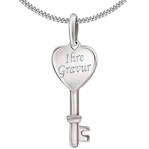 Clever Schmuck Set mit Gravur: Silberner Schlüssel Anhänger mit Herz glänzend und wählbarer Kette STERLING SILBER 925 inklusive einseitiger Gravur