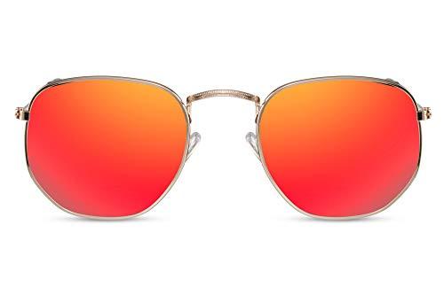 Cheapass Gafas Sol Gafas Hexagonales Montura Dorada