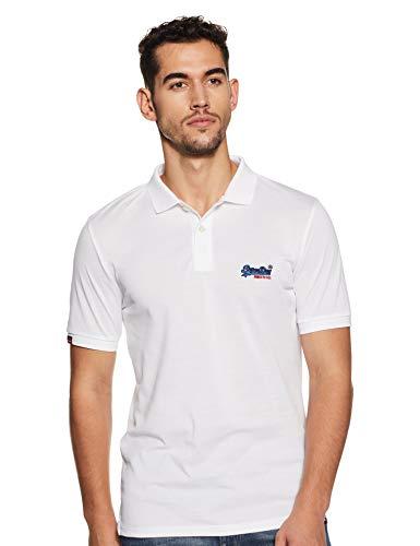 Superdry Herren Mercerised LITE City Polo Poloshirt, Weiß (Optic 01C), Small -