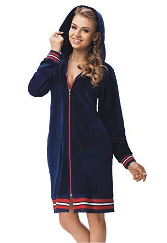 LEVERIE modischer Damen-Bademantel/Morgenmantel/Saunamantel mit gemütlicher Kapuze (M (38), Variante 5 dunkelblau) - Mantel 38 Kurz