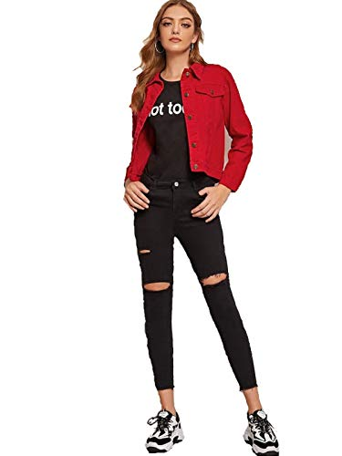 MIZAGO Women's Full Sleeves Comfort Fit Regular Collar Denim Jacket for Women (RED, Large)