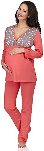 Be Mammy Vêtements Maternité Ensemble de Pyjama Susan Corail