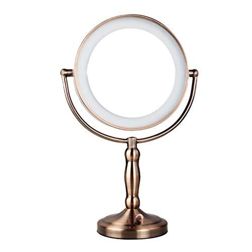 WLHW Schminkspiegel mit Beleuchtung Und Vergrößerung, 7-Fach Doppelseitige Spiegel LED-Kosmetikspiegel mit Verstellbarem Schalter Schminkspiegel (Farbe : Red Bronze, größe : 43 * 23cm)