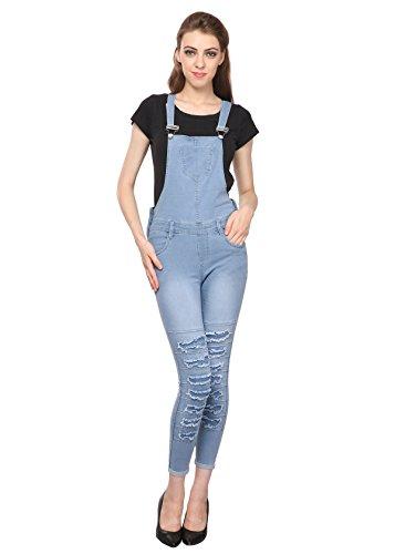 Manash Fashion Women Denim Dungaree Ice Blue_ 30