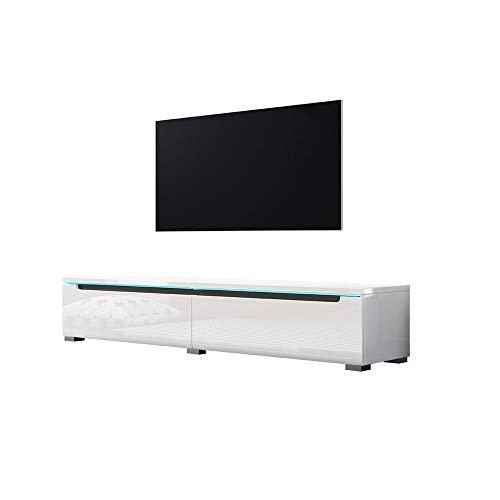 Swift - Fernsehschrank/Tv-Lowboard In Weiß Hochglanz Mit Led Hängend Oder Stehend 140 Cm