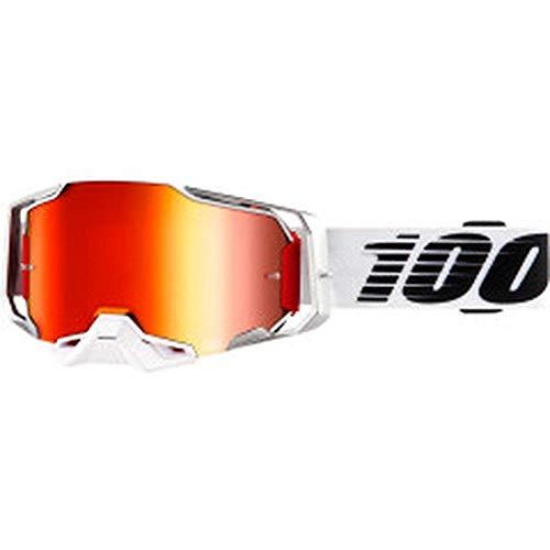 100% Armega Lightsaber Motocross MTB Brille 2019 rot weiss rot verspiegelte Scheibe