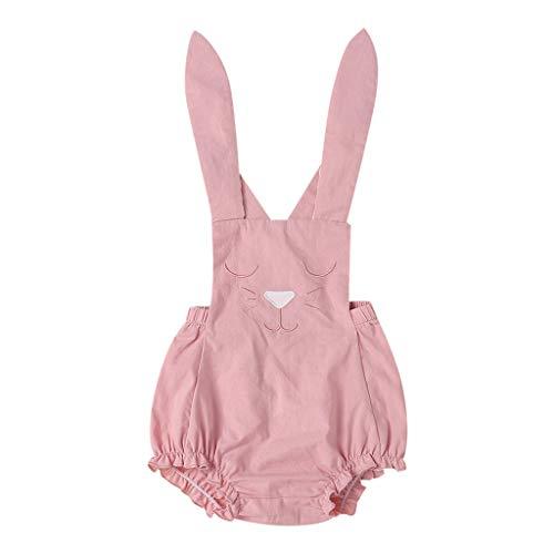 REALIKE Kinder Baby Mädchen Ärmellos-Body im Mode Kaninchen-Muster Spitze Blusen Elegant Sling Crossover Rüschen Jumpsuit Sommerkleid Prinzessin Ostern Kleidung