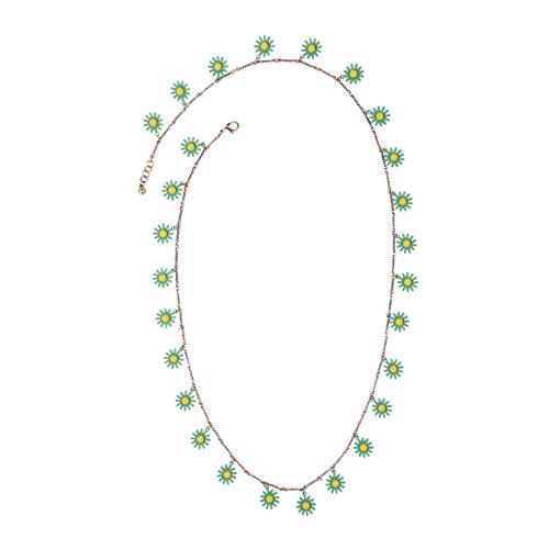 Kostüm Populare - TLLAMG Halskette Neue Grüne Gänseblümchen-Blumen-Lange Halsketten-Sommer-Populäre Frauen-Schellfisch-Hängende Halsketten-Marken-Kostüm-Schmucksachen