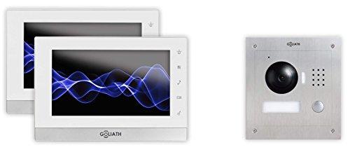 """GOLIATH IP 2 Draht Video Türsprechanlage, 1,3 Megapixel Kamera, 2x 7\"""" Innen-Station, Smartphone Handy App, Gegensprechanlage, Video-Sprechanlage, Unterputz Außenstation, Einfamilienhaus Set"""