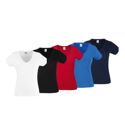 5erPack Fruit of the Loom V-Neck Damen T-Shirt Shirt Ladys M,Set 2