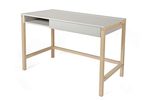 PKline Schreibtisch Normad Birke weiß teilmassiv Bürotisch Arbeitstisch Computer Tisch - Büro-schreibtisch, Birke