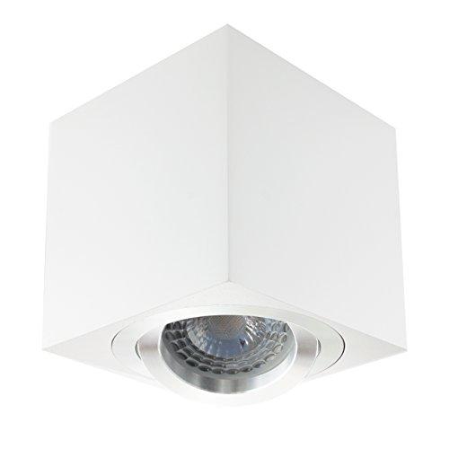 LED Aufbaustrahler/Aufbauleuchte/Aufputz Deckenleuchte/schwenkbar/Aluminium quad weiß/GU10-230V WF7 (DIMMBAR Warmweiß)