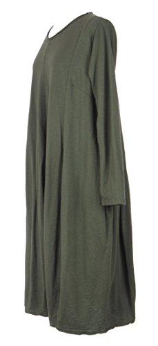 Mesdames Womens Lagenlook italienne excentrique Long Sleeve Plain coton épais 2 Pocket Tulip Midi robe One Size 12-16 Kaki