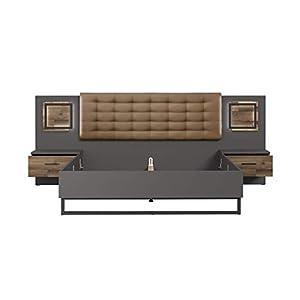 FORTE Bett, Bettanlage (Liegefläche 180cm x 200 cm) mit Polsterkopfteil inklusive Nachttischen und Touch-Beleuchtung…