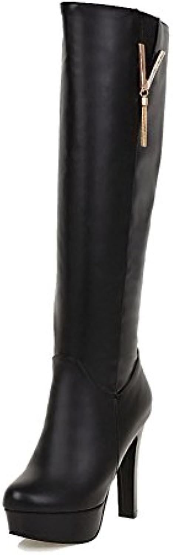 AgooLar Mujeres Puntera Redonda Sólido Caña Alta Tacón Alto Botas con Colgantes -