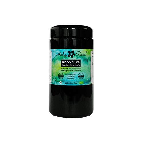 Aloha Sana  - Bio Spirulina Algen 800 Presslinge a 400 mg im Ultraviolettglas, laborgeprüft, energetisch getestet, Mineralstoffe, zur Darmreinigung, Premium Produkt, Made in Germany, DE-ÖKO-007 Biozertifizierung