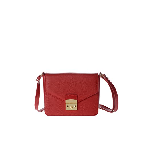 Sac pour femme porté épaule made in Italy en cuir véritable avec bandoulière et rabat DUDU Rouge lacca