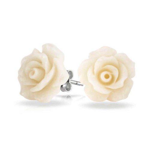 Sterling Silber 925 Harz weiße Blume Rose Ohrstecker