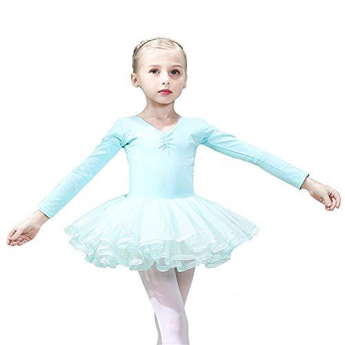 Mädchen Trikots Tanz Zurück Bowknot Klassische Langarm Rocket Ballett Tutu Kleid Prinzessin Ballerina Dancewear Performance Kostüme Tanzbekleidung für besondere ()