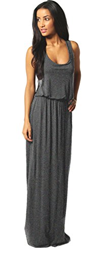 Mikos Damen-Kleid, Bodenlanges Maxikleid, Ideal für Sommer und Urlaub, Boho-Style S M L 36 38 40 (369) (Antrazite, L/XL)