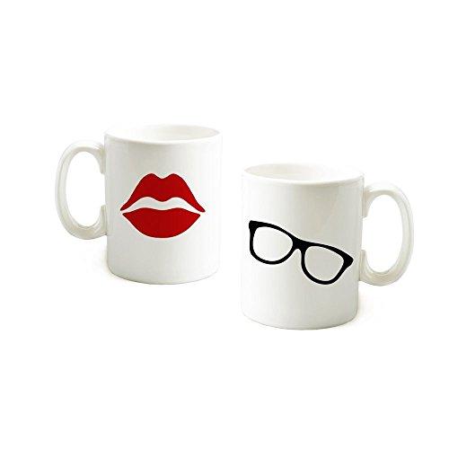 loQuenn Personalisierte Tassen, rote Lippen und Sonnenbrille Mugs-Valentines Day Gifts für Sie/Ihn Hochzeit Geschenke für Braut und Bräutigam (Hochzeit Sonnenbrille Personalisierte)