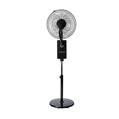 "Ovation Black 18"" Multi-Functional Oscillating Fan with Humidifying Mist Action, Digital Touch Pad & Remote Control"