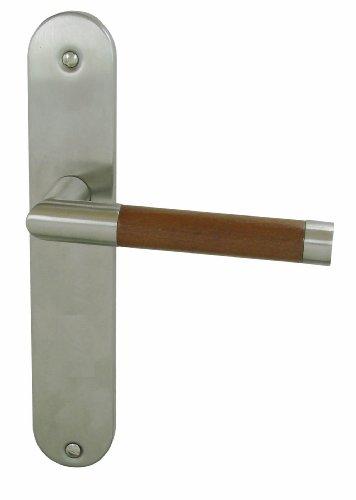 DT 2000 336810 - Maneta de puerta con placa (porcelana y acero inoxidable, sin bocallave), color madera y metálico