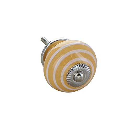 Yellow Colour White Striped Round Ceramic Door Knob Vintage Shabby Chic Cupboard Drawer Pull Handle 4504-YW