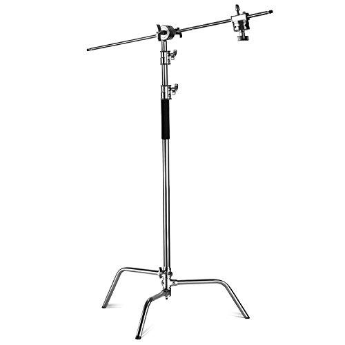 Neewer® Pro 100% Metall Max Höhe 10ft/305cm verstellbarem Reflektor Ständer mit 4 Fuß/120cm Halter Arm und 2 Griff Kopf für Fotografie Studio-Video-Reflektor, Monolight und andere Ausrüstung (Griff Arm)